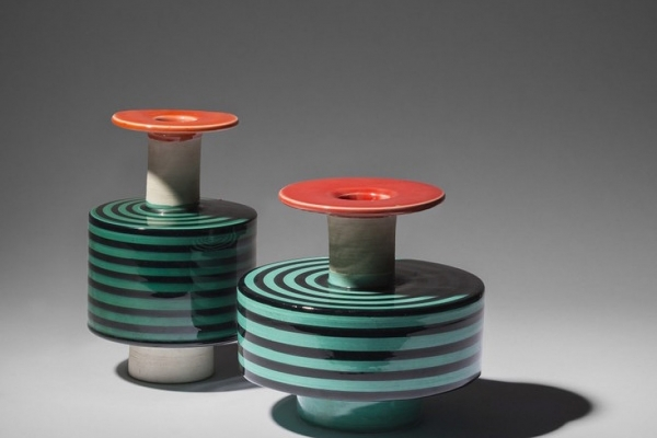 """Pair of vases, model 183 and model 182, presented within the exhibition """"Dialogo. Ettore Sottsass"""""""