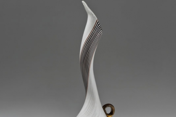 "Simple watermark vase with black and white band, an artwork presented within the exhibition ""Dino Martens Pittore e designer"""