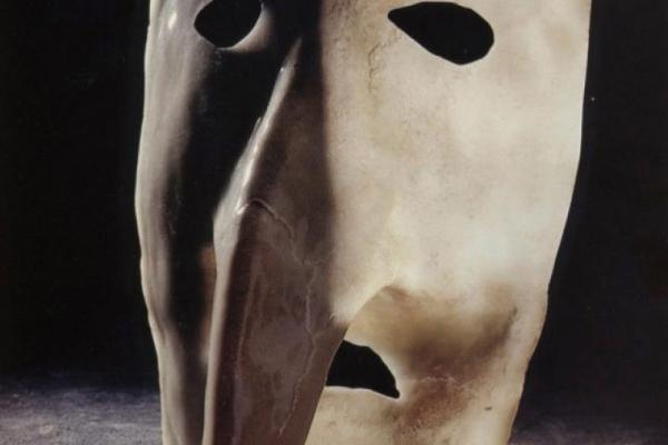 """Bauta, an artwork presented within the exhibition  """"Gaetano Pesce Cinque tecniche col vetro"""""""