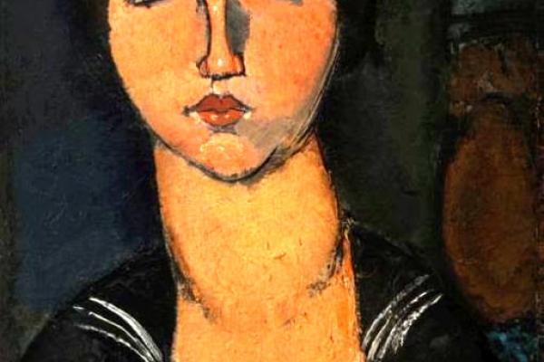 """""""Ragazza con il bavero alla marinara"""", an artwork presented within the exhibition """"Modigliani e altre acquisizioni"""""""