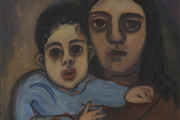"""Mother and Child"", an artwork presented within the exhibition ""Alice Neel, Uptown"""