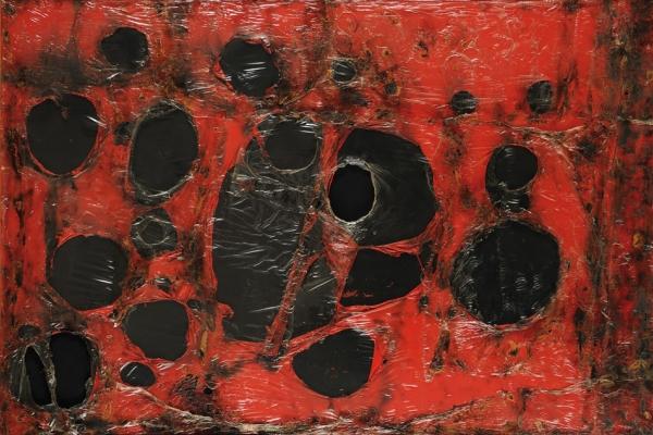 Rosso Plastica M3, 1961, Plastica, combustione su tela. Fondazione Palazzo Albizzini Collezione Burri