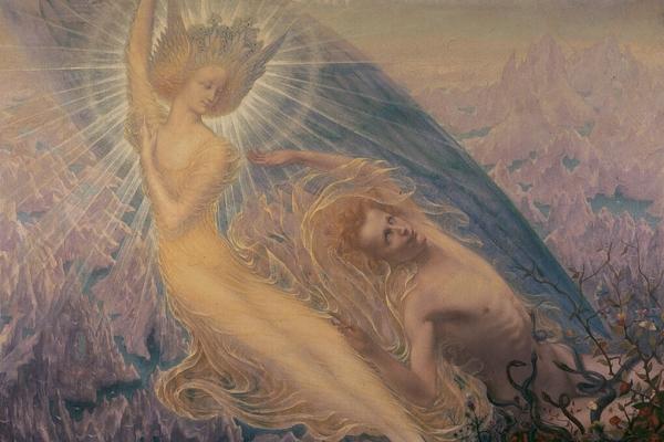 """The Angel of Splendors"", an artwork presented within the exhibition ""Simbolismo mistico. Il Salon de la Rose+Croix a Parigi 1892-1897"""