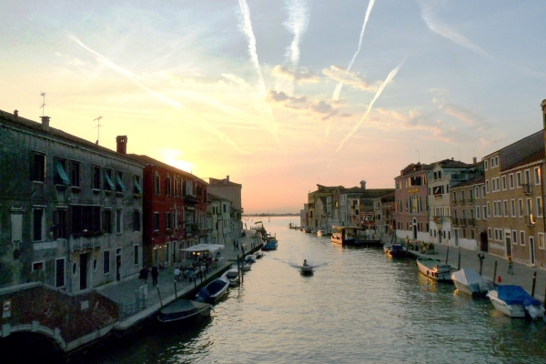 View of Fondamenta Cannaregio at sunset