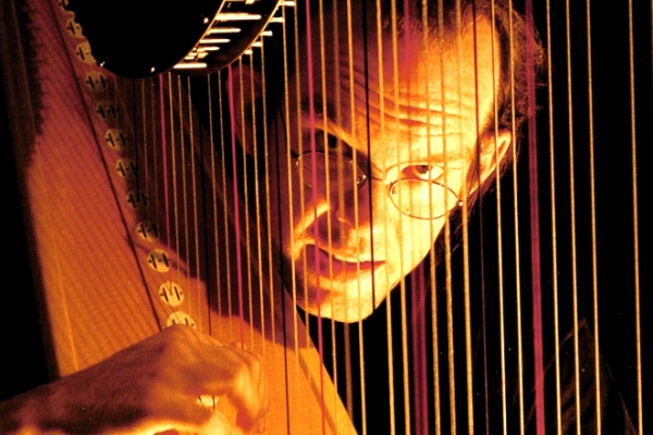 Park Stickney playing the harp