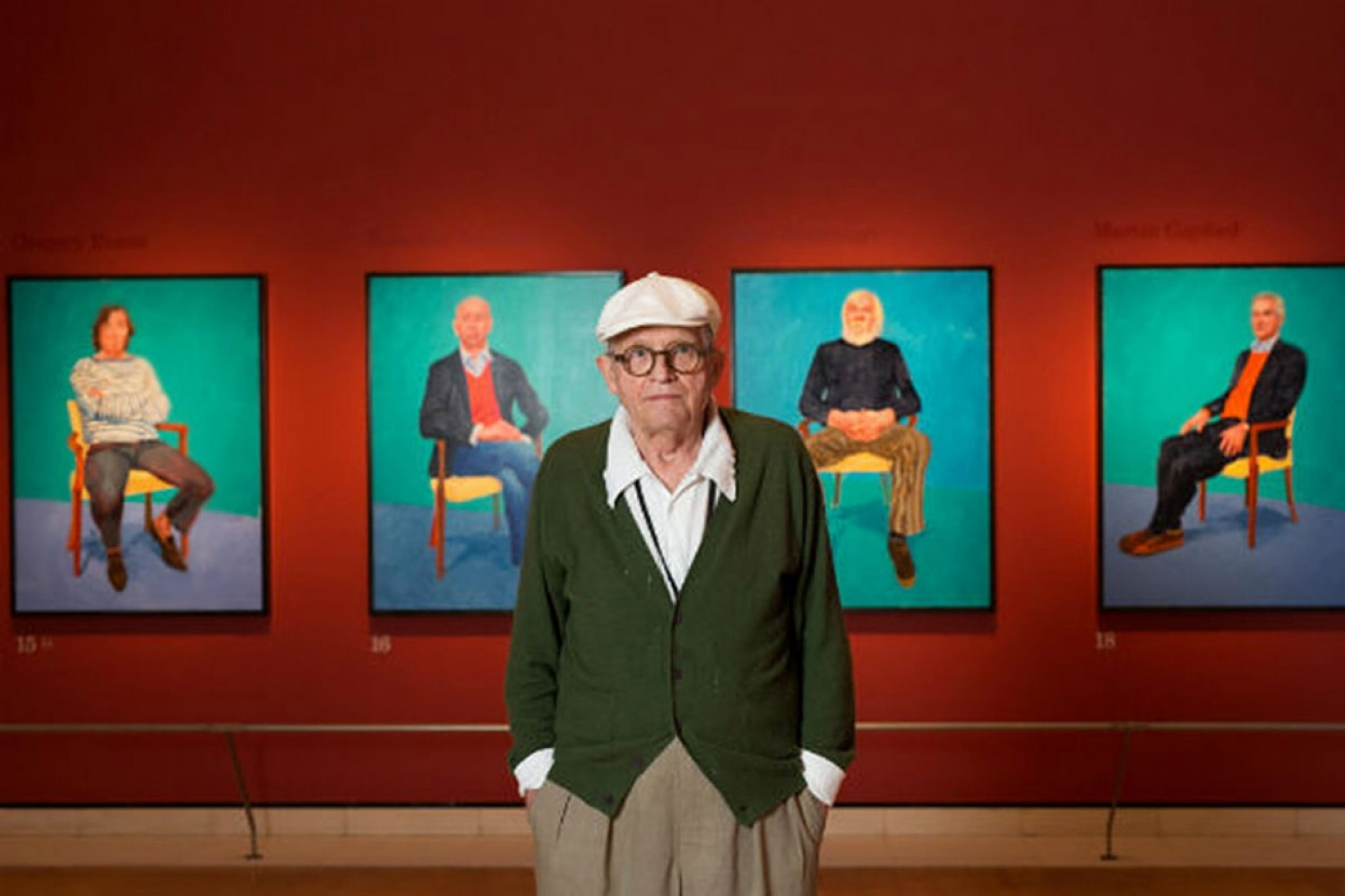 "David Hockney and his works within the exhibition ""David Hockney 82 ritratti e 1 natura morta"""