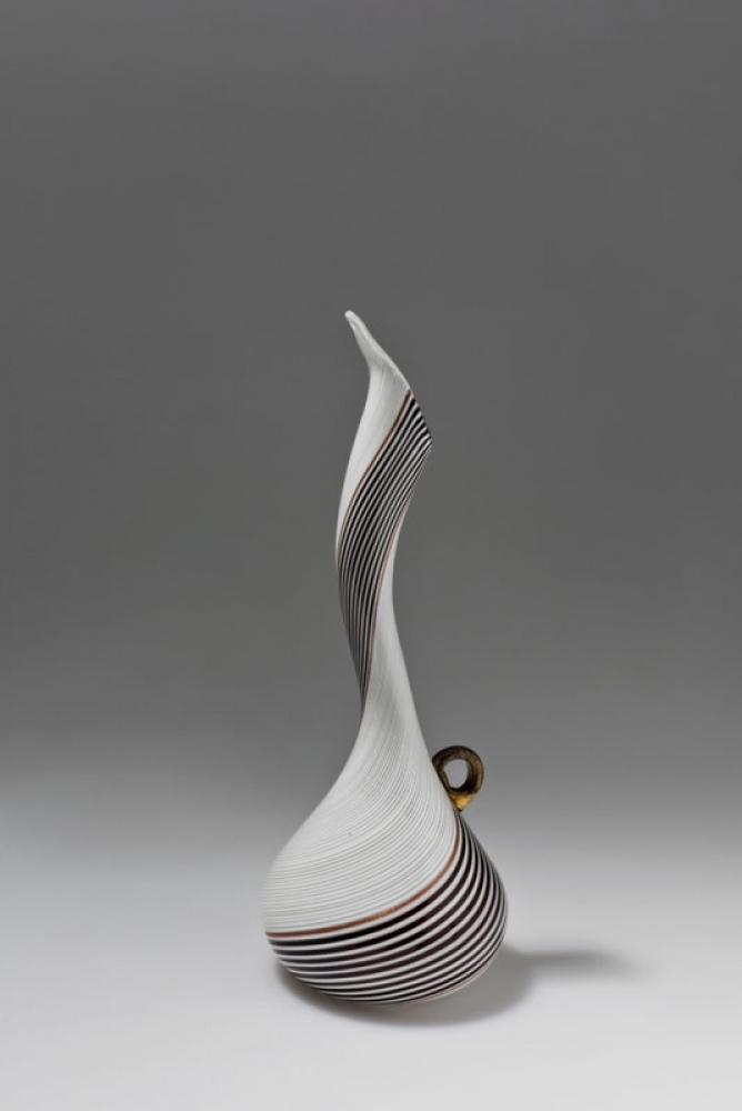 """Simple watermark vase with black and white band, an artwork presented within the exhibition """"Dino Martens Pittore e designer"""""""